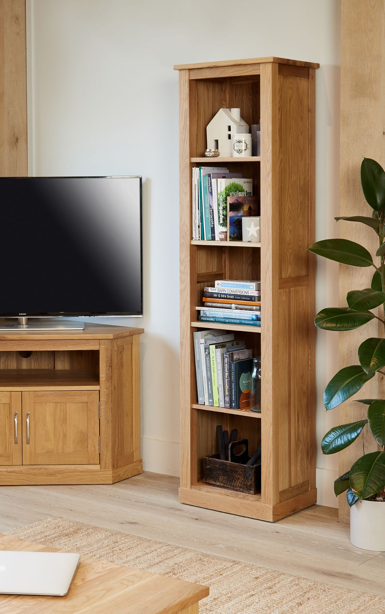 Mobel Oak Tall Narrow Bookcase Made From Solid Oak And